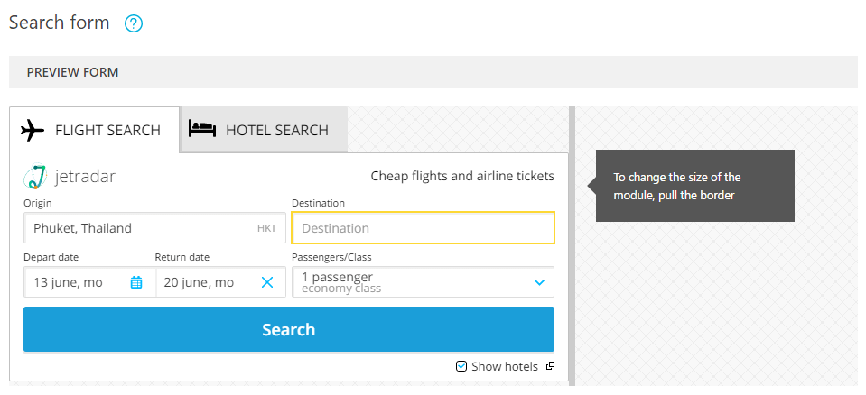 travelpayouts_search_form Vendeur Pro