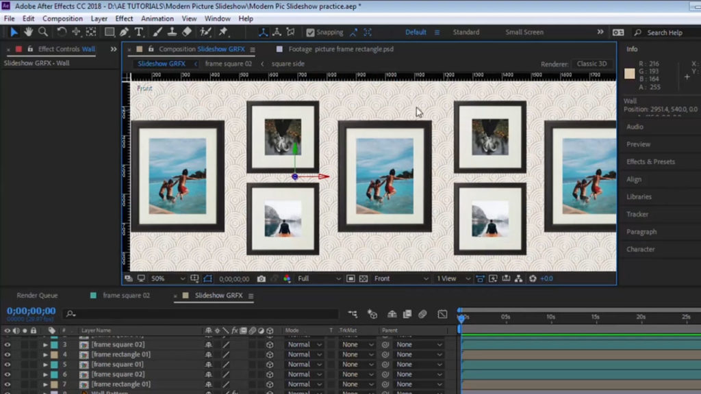 Placement des cadres tutoriel diaporama 3D After Effects Vendeur Pro