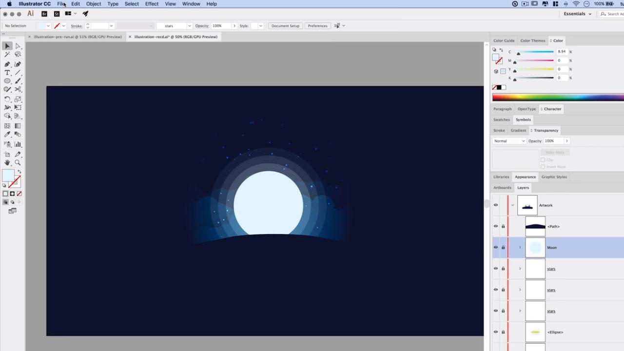 Silhouette animale Anneaux lunaires Tutoriel Illustrator Vendeur Pro