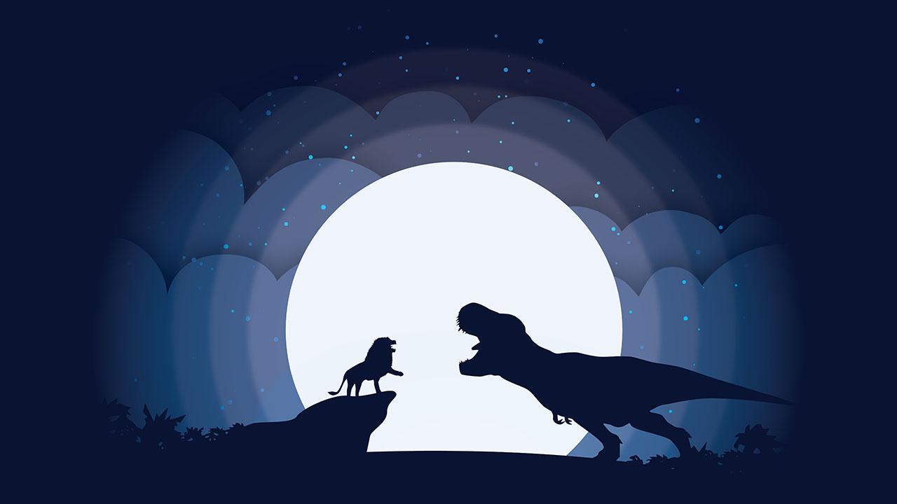 Silhouette animale au clair de la lune Trex Lion Tutoriel Illustrator Vendeur Pro