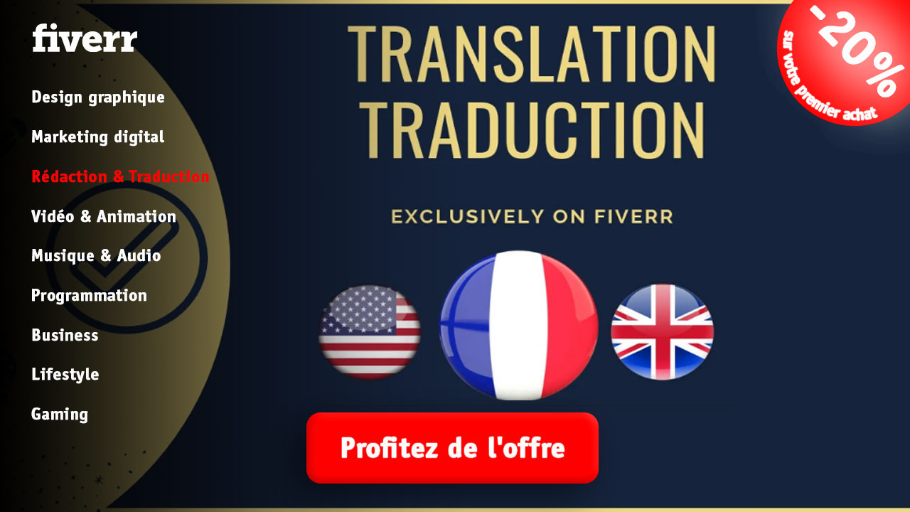 Rédaction traduction fiverr vendeur Pro